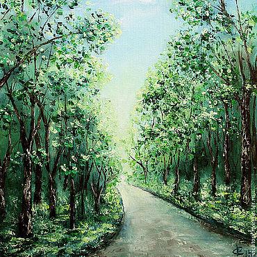 """Картины и панно ручной работы. Ярмарка Мастеров - ручная работа """"Зеленый лес, дорога, солнце"""", картина масло. Handmade."""