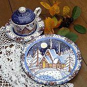 """Посуда ручной работы. Ярмарка Мастеров - ручная работа Чайный набор """"Рождественская ночь"""". Рождественские подарки. Handmade."""