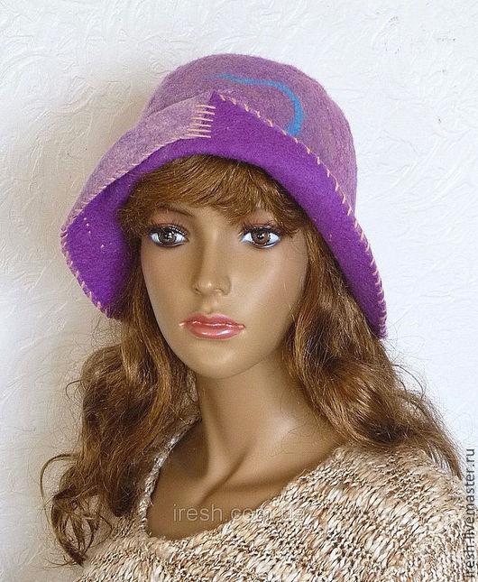 """Шляпы ручной работы. Ярмарка Мастеров - ручная работа. Купить Шляпка валяная """"Ноктюрн"""". Handmade. Сиреневый, женская шляпа"""