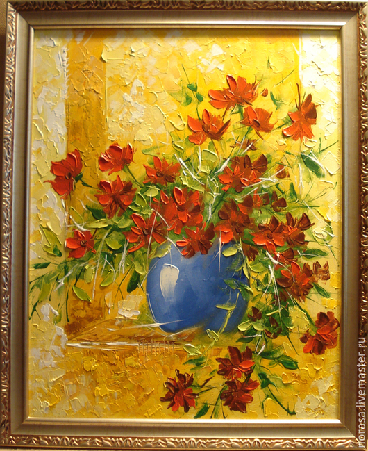 Картины цветов ручной работы. Ярмарка Мастеров - ручная работа. Купить цветы в вазе. Handmade. Разноцветный, картина, картина в подарок