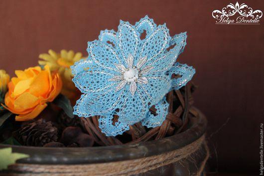 """Броши ручной работы. Ярмарка Мастеров - ручная работа. Купить Брошь- заколка """" Кружевной цветок"""". Handmade. Синий"""