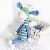 Куклы и игрушки handmade. Livemaster - original item Blue striped giraffe/mint. Handmade.