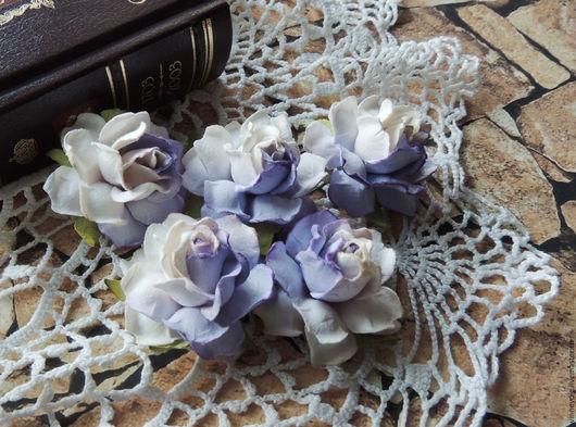 Открытки и скрапбукинг ручной работы. Ярмарка Мастеров - ручная работа. Купить Цветы розы двухцветные 5 шт. Handmade. Фиолетовый
