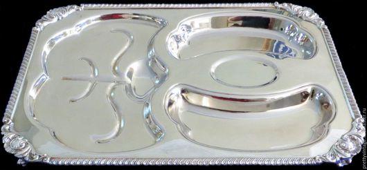 Винтажная посуда. Ярмарка Мастеров - ручная работа. Купить Англия Посеребрение Большая Сервировочная Тарелка Редкий Винт. Handmade. Серебряный