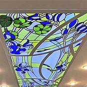 Для дома и интерьера handmade. Livemaster - original item Ceiling stained glass with irises. Film stained glass in the frame and illuminated. Handmade.