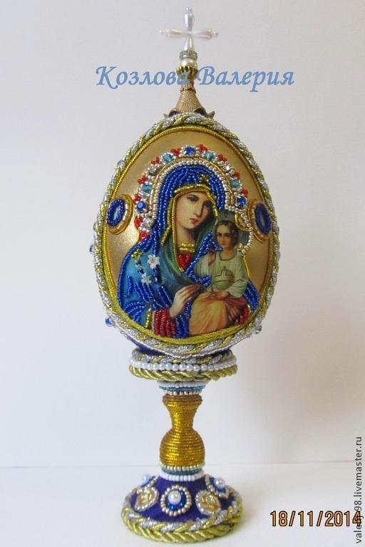 Яйца ручной работы. Ярмарка Мастеров - ручная работа. Купить Яйцо с иконой Богородицы. Handmade. Тёмно-фиолетовый, подарок, икона