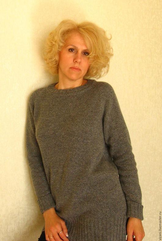 Кофты и свитера ручной работы. Ярмарка Мастеров - ручная работа. Купить Кашемировый твидовый джемпер. Handmade. Серый, джемпер женский