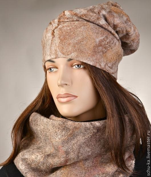 шапка и шарф валяные из шерсти мериноса