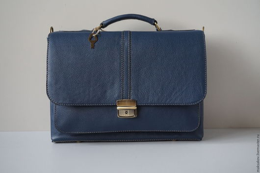 Мужские сумки ручной работы. Ярмарка Мастеров - ручная работа. Купить Синий портфель небольшого размера. Handmade. Синий