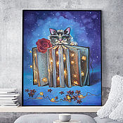 Картины и панно handmade. Livemaster - original item Oil painting with a cat