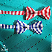 Аксессуары handmade. Livemaster - original item Tie Provence / red or blue butterfly in a cage Vichy. Handmade.