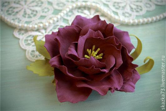 Броши ручной работы. Ярмарка Мастеров - ручная работа. Купить Брошь-заколка из фоамирана Бордовый цветок. Handmade. Бордовый