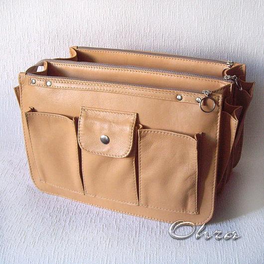 Органайзеры для сумок ручной работы. Ярмарка Мастеров - ручная работа. Купить Тинтамар двойной кожаный  (органайзер для сумки). Handmade. Тинтамар