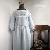 """Одежда ручной работы. Ярмарка Мастеров - ручная работа Платье с вышивкой """"Тихий вечер"""" 52 размер. Handmade."""
