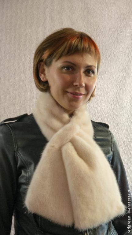 Шарфы и шарфики ручной работы. Ярмарка Мастеров - ручная работа. Купить норковый шарф. Handmade. Белый, мех натуральный