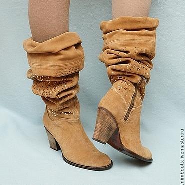 Обувь ручной работы. Ярмарка Мастеров - ручная работа Сапоги осенние замшевые, трансформеры. Handmade.