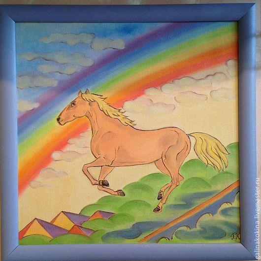 Картина Радость, холст на картоне, масло, 40х40см, в деревянной раме сиреневого цвета.