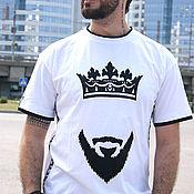 Одежда handmade. Livemaster - original item Cool white t-shirt Beard and crown, rap t-shirt with stripes. Handmade.