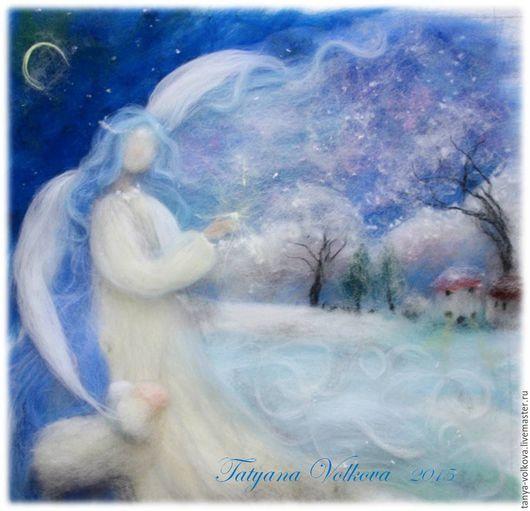 """Детская ручной работы. Ярмарка Мастеров - ручная работа. Купить Картина из шерсти """"Зимний ангел"""". Handmade. Голубой, зимний пейзаж"""