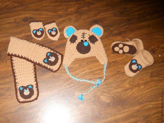 """Шапки и шарфы ручной работы. Ярмарка Мастеров - ручная работа. Купить Комплект """"Медвежонок Тедди""""(шапочка,шарфик,рукавички,пинетки). Handmade."""