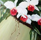 Картины и панно ручной работы. Ярмарка Мастеров - ручная работа Солнечные орхидеи - картина маслом с цветами. Handmade.