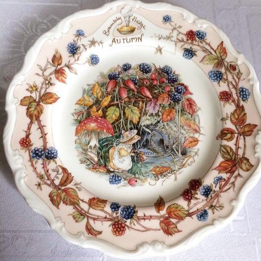 Винтажная посуда. Ярмарка Мастеров - ручная работа. Купить Brambly hedge Винтажная фарфоровая тарелка Осень. Handmade. Для интерьера