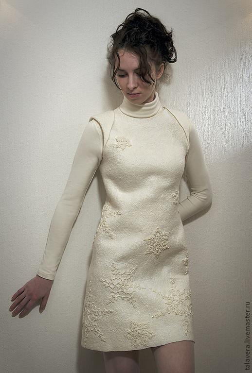 """Платья ручной работы. Ярмарка Мастеров - ручная работа. Купить Войлочное платье ручной работы """"Метелица"""". Handmade. Белый"""