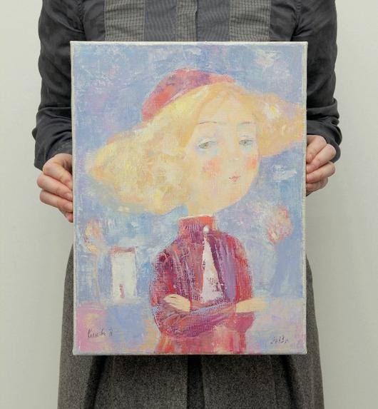 """Картины цветов ручной работы. Ярмарка Мастеров - ручная работа. Купить Картина """"Себе на уме"""". Handmade. Живопись, розовый, зеленый"""