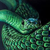 """Картины и панно handmade. Livemaster - original item Картина пастелью """"Зелёная змея"""". Handmade."""