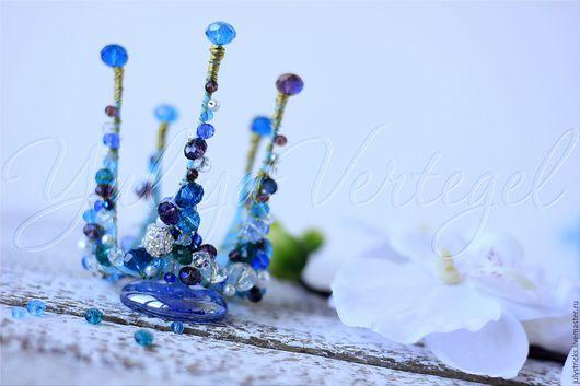 """Детская бижутерия ручной работы. Ярмарка Мастеров - ручная работа. Купить Корона """"Морская волна"""". Синяя корона. Голубая корона. Праздничное укра. Handmade."""