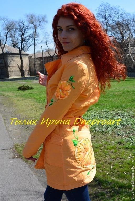 """Верхняя одежда ручной работы. Ярмарка Мастеров - ручная работа. Купить Пальто """"Апельсин""""с ручной обьемной росписью. Handmade. Оранжевый"""