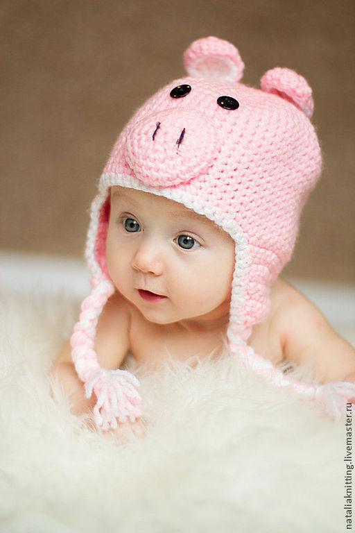 """Для новорожденных, ручной работы. Ярмарка Мастеров - ручная работа. Купить """"Хрюша"""" для фотосессии. Handmade. Розовый, шапочка для фотосессии, фотосессия"""