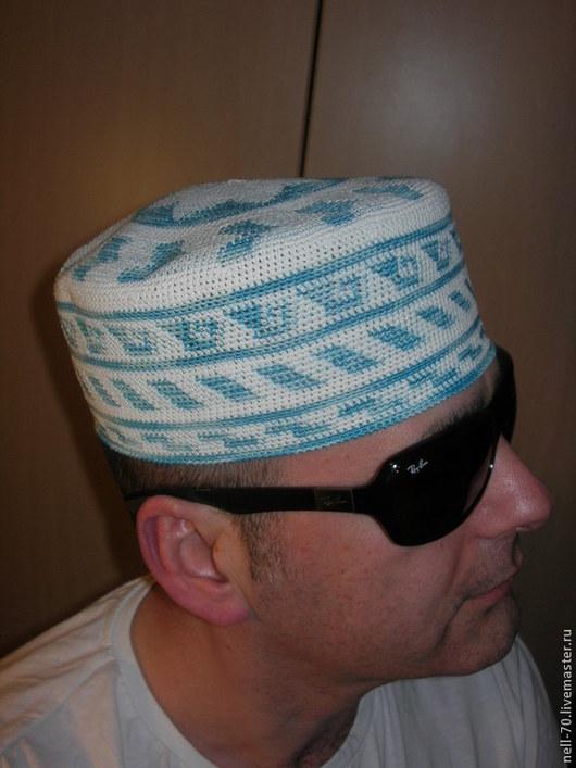 """Для мужчин, ручной работы. Ярмарка Мастеров - ручная работа. Купить Шапка """"Summer-3"""" (летняя). Handmade. Голубой"""