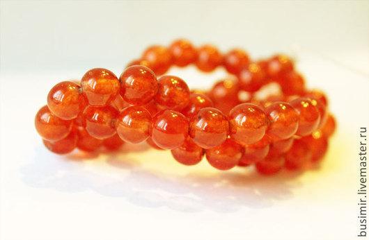 Жадеит, цвет - оранжевый. Бусины жадеита 6 мм. Жадеит для создания украшений. Busimir