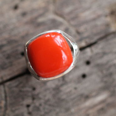 Украшения. Ярмарка Мастеров - ручная работа 18 красное  Кольцо серебряное. Handmade.