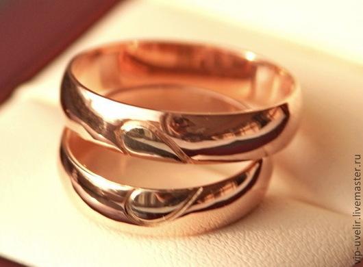 Кольца ручной работы. Ярмарка Мастеров - ручная работа. Купить Обручальные кольца из белого и красного золота 585 пробы.. Handmade.