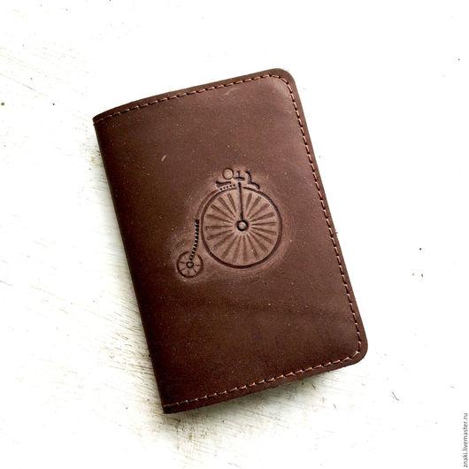 """Обложки ручной работы. Ярмарка Мастеров - ручная работа. Купить Обложка на паспорт """"Велосипед"""". Handmade. Коричневый, велосипед, обложка на паспорт"""