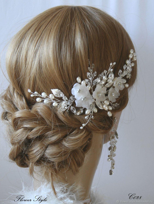 Свадебный гребень для волос  С028, Украшения в прическу, Москва,  Фото №1