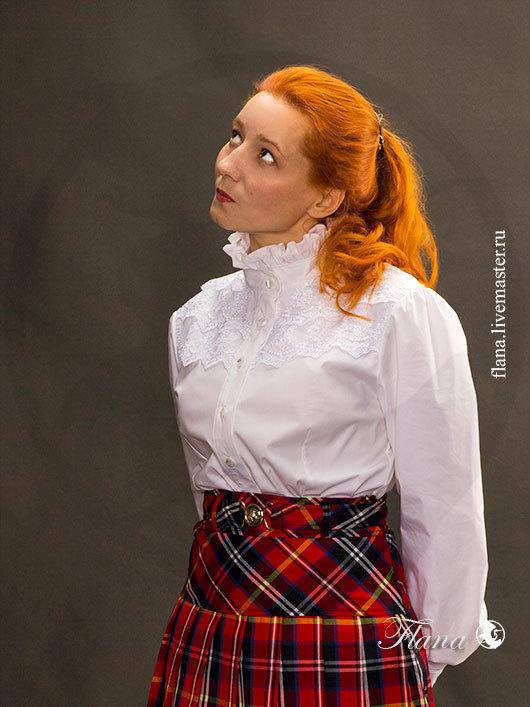 Блузка кружевная, с воротником стоечкой и отделкой кружевом. Индивидуальный пошив, Флана