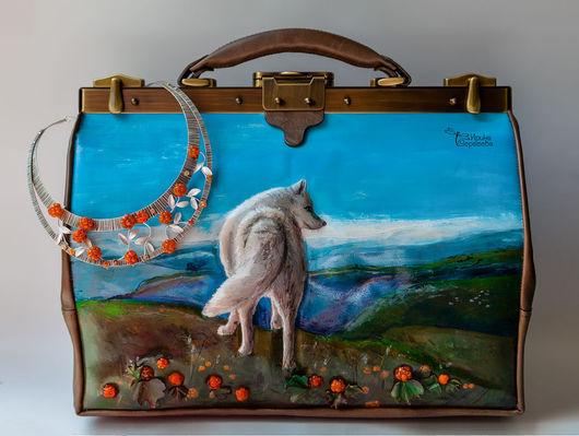 """Женские сумки ручной работы. Ярмарка Мастеров - ручная работа. Купить Саквояж """"Норвегия. Морошка"""". Handmade. Коричневый, волк, морошка"""