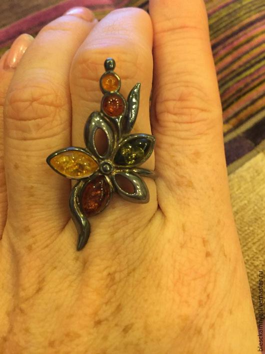 Кольца ручной работы. Ярмарка Мастеров - ручная работа. Купить кольцо Ambre. Handmade. Разноцветный, янтарь натуральный, янтарь натуральный