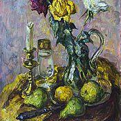 Картины и панно ручной работы. Ярмарка Мастеров - ручная работа Натюрморт с розами и подсвечником. Handmade.