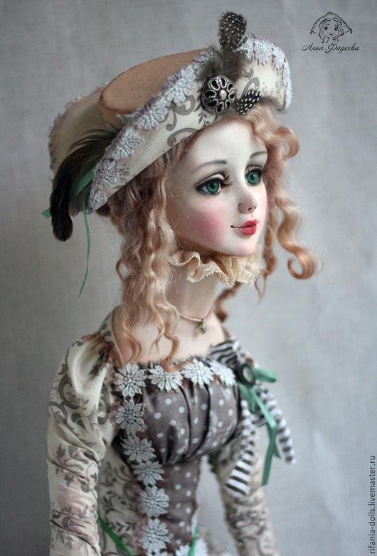 Коллекционные куклы ручной работы. Ярмарка Мастеров - ручная работа. Купить Сабрина. Handmade. Бежевый, сатин, перья