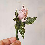 Украшения ручной работы. Ярмарка Мастеров - ручная работа Брошь-цветок Роза кремовая. Цветы из шелка. Handmade.