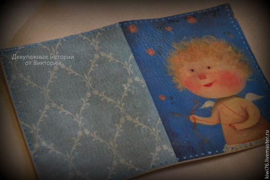 """Обложки ручной работы. Ярмарка Мастеров - ручная работа. Купить Обложка на паспорт """"Это мой амур!"""". Handmade. Голубой, обложка"""