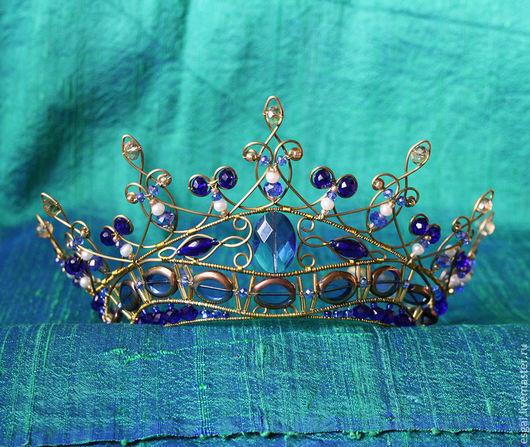 """Диадемы, обручи ручной работы. Ярмарка Мастеров - ручная работа. Купить Диадема """"Королевский синий"""". Handmade. Венец, великолепный век"""