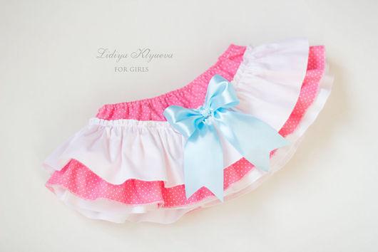 Одежда для девочек, ручной работы. Ярмарка Мастеров - ручная работа. Купить Юбочка-трусики на памперс - блумеры белый розовый. Handmade.