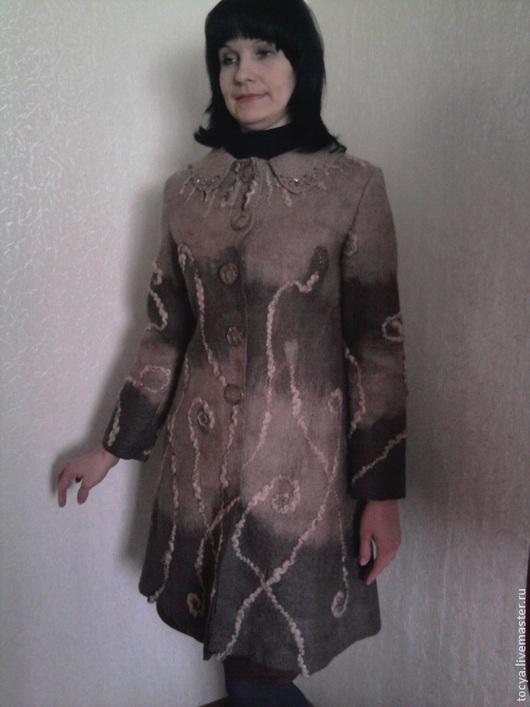 Верхняя одежда ручной работы. Ярмарка Мастеров - ручная работа. Купить Валяное пальто. Handmade. Коричневый, итальянский меринос
