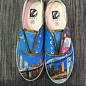 Обувь ручной работы. Ярмарка Мастеров - ручная работа Кеды с росписью Нью-йорк. Handmade.