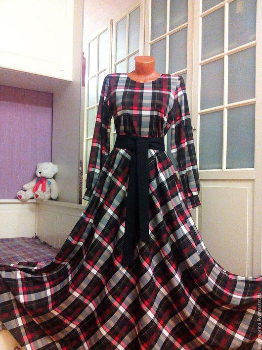 Платья ручной работы. Ярмарка Мастеров - ручная работа. Купить Трикотажное платье в пол с юбкой полусолнце Камелия. Handmade. Коричневый